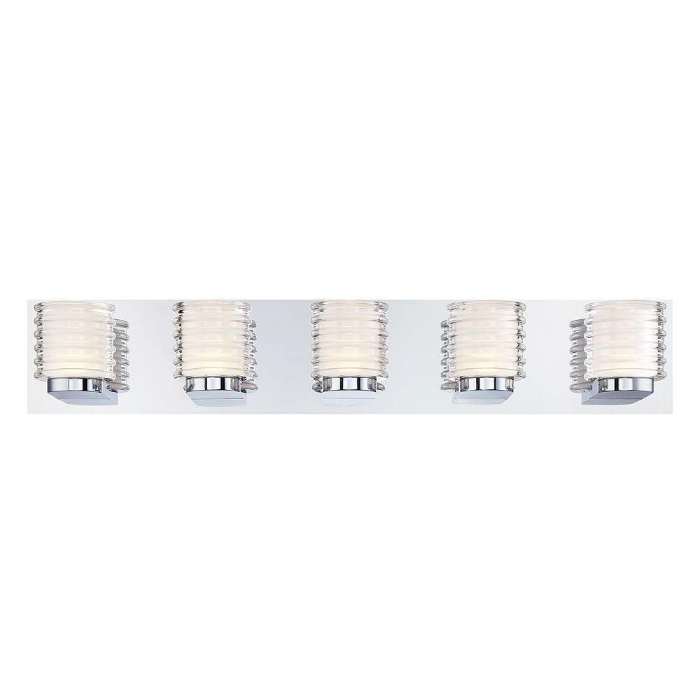 Eurofase Collection Ancona, barre d'éclairage de salle de bains chrome à 5ampoules DEL