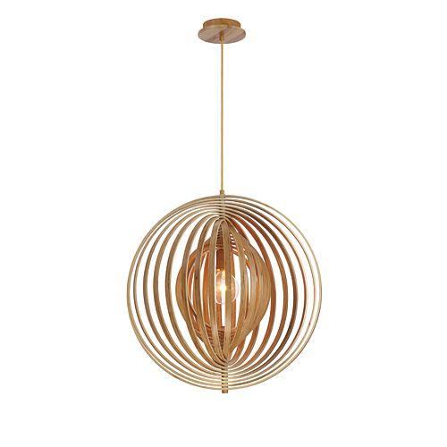 Collection Abruzzo, grand luminaire suspendu en bois à 1ampoule