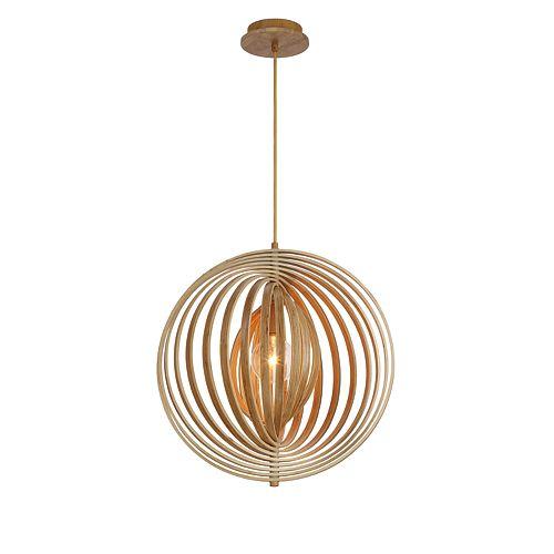 Collection Abruzzo, luminaire suspendu en bois de taille moyenne à 1ampoule