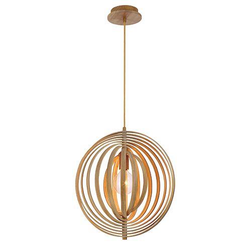 Collection Abruzzo, petit luminaire suspendu en bois à 1ampoule