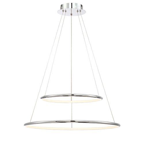 Collection Valley, luminaire suspendu de taille moyenne à deux niveaux chrome à DEL