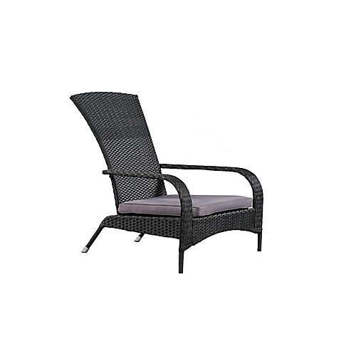 Wicker Muskoka Patio Chair in Black with Dark Grey Cushion