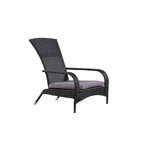 Muskoka Chair, Black Wicker & Dark Grey Cushions