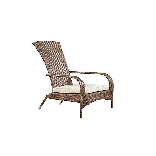 Muskoka Chair, Light Brown Wicker & Beige Cushions