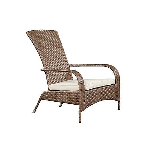 Comfort Height Wicker Muskoka Patio Chair in Caramel Brown with Beige Cushion