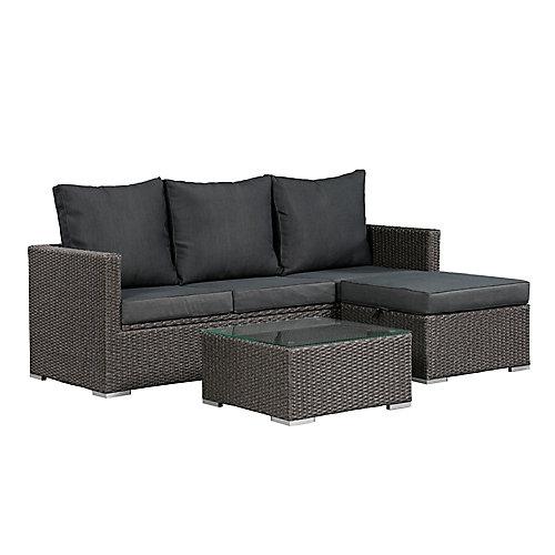 Ensemble de sofas Evan avec espace de rangement - Osier gris et coussins gris foncés
