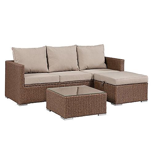 Ensemble de sofas Evan avec espace de rangement - Osier brun et coussins beiges