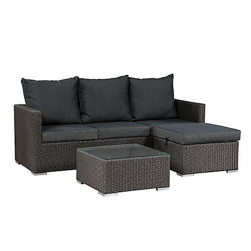 Ensemble de sofas Evan sans espace de rangement - Osier gris et coussins gris foncés
