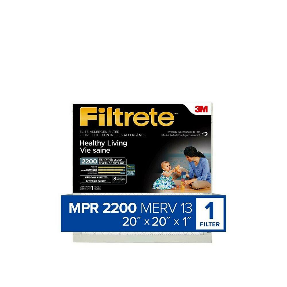 Filtrete Healthy Living Elite Allergen Filter, MPR 2200, 20 inch x 20 inch x 1 inch