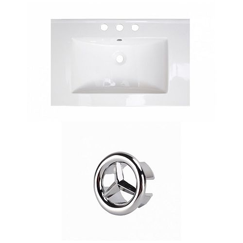 23.75- inch W 3H8- inch Ceramic Top Set In White Colour