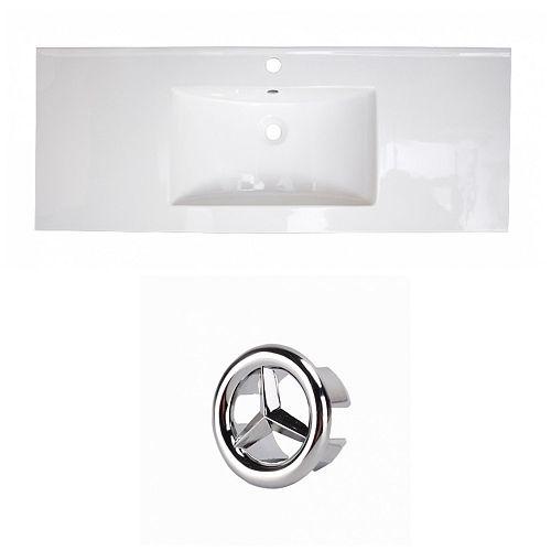 48- inch W 1 Hole Ceramic Top Set In White Colour