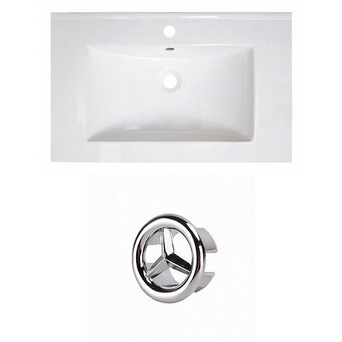 30- inch W 1 Hole Ceramic Top Set In White colour