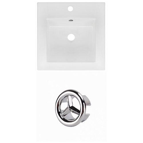 16.5- inch W 1 Hole Ceramic Top Set In White colour