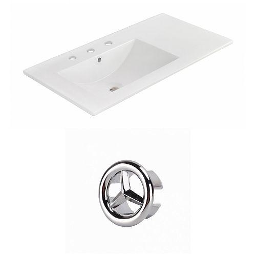 35.5- inch W 3H8- inch Ceramic Top Set In White Colour