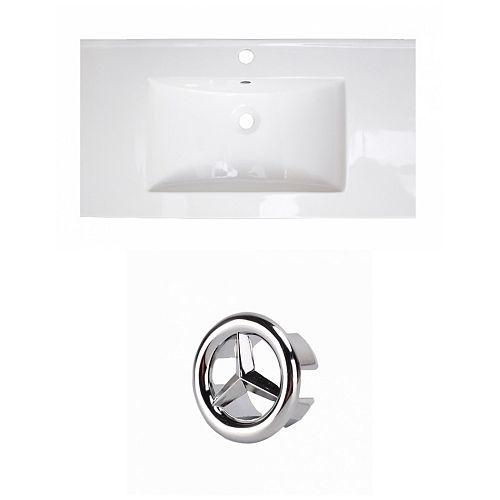 36.75- inch W 1 Hole Ceramic Top Set In White Colour