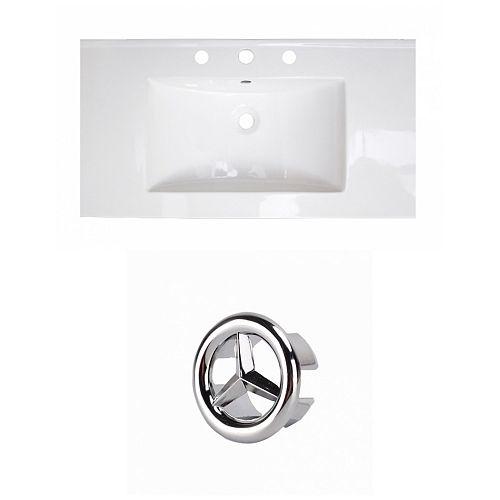 36.75- inch W 3H8- inch Ceramic Top Set In White Colour