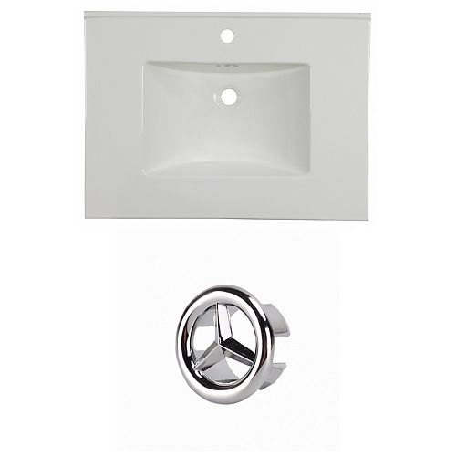 30.75- inch W 1 Hole Ceramic Top Set In White Colour