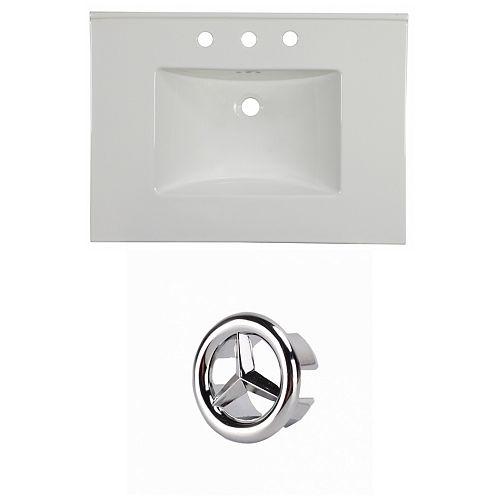 30.75- inch W 3H8- inch Ceramic Top Set In White Colour