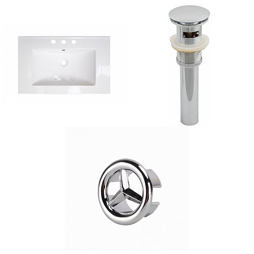 23.75- inch W 3H8- inch Ceramic Top Set In White Colour - Overflow Drain Incl.