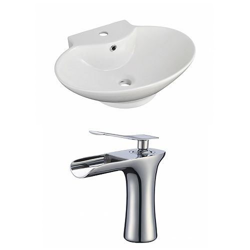 American Imaginations 22.75- inch W Wall Mount White Vessel Set For 1 Hole Center Faucet - Faucet Included