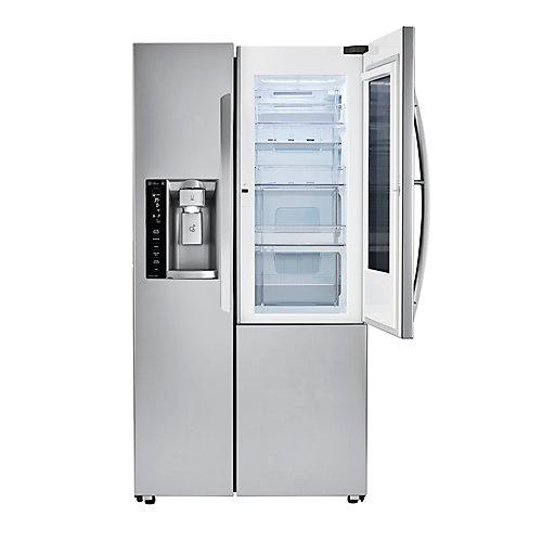 Réfrigérateur 3 portes côte à côte 36 pouces L 22 pieds cubes avec porte InstaView en acier inoxydable