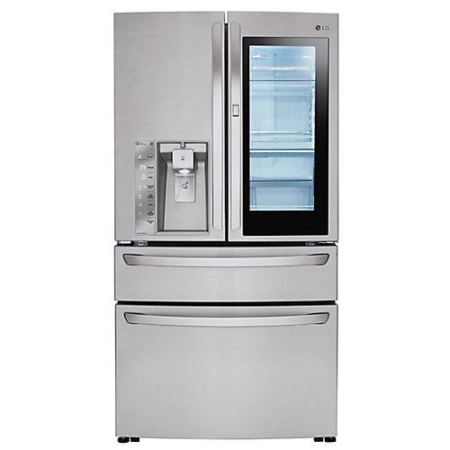 36-inch W 23 cu. ft. French 4-Door Smart Refrigerator with InstaView Door-in-Door in Stainless Steel