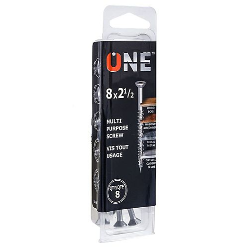 ONE SCREW Vis à usages multiples ONE(TM) #8 x 2-1/2 pouces avec embout de tournevis (8pcs)