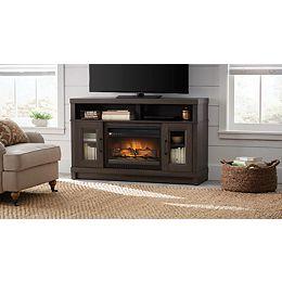 54-inch Media Electric Fireplace in Gray Oak Finish
