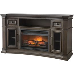 60-inch Concave Media Console Electric Fireplace in Coffee Finish