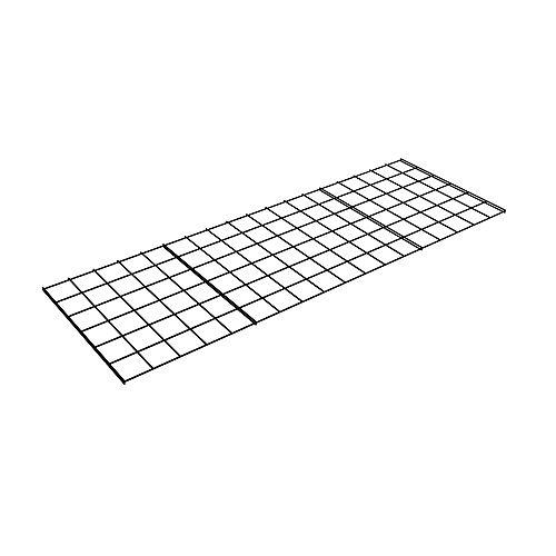 Grille de rangement pour étagère de rangement en métal 36 po de largeur x 0,5 po de hauteur x 18 po - Noir