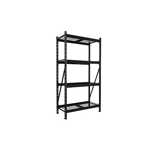 1000 Series 39-inch W x 72-inch H x 18.5-inch D Steel 4-Shelf Customizable Shelving Unit in Black