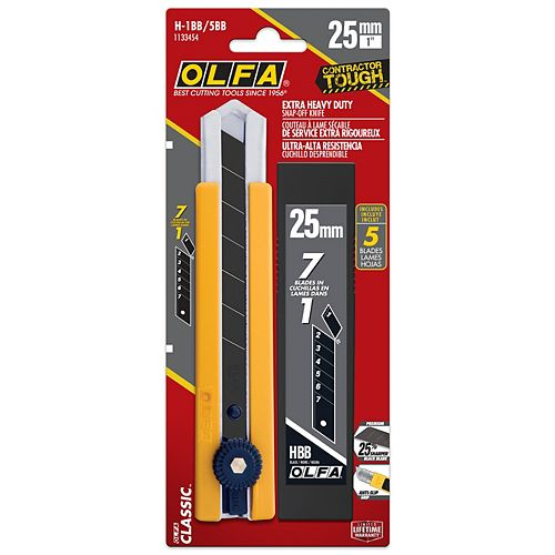 Olfa 25mm Snap-Off Utility Knife with 5pk Black Baldes
