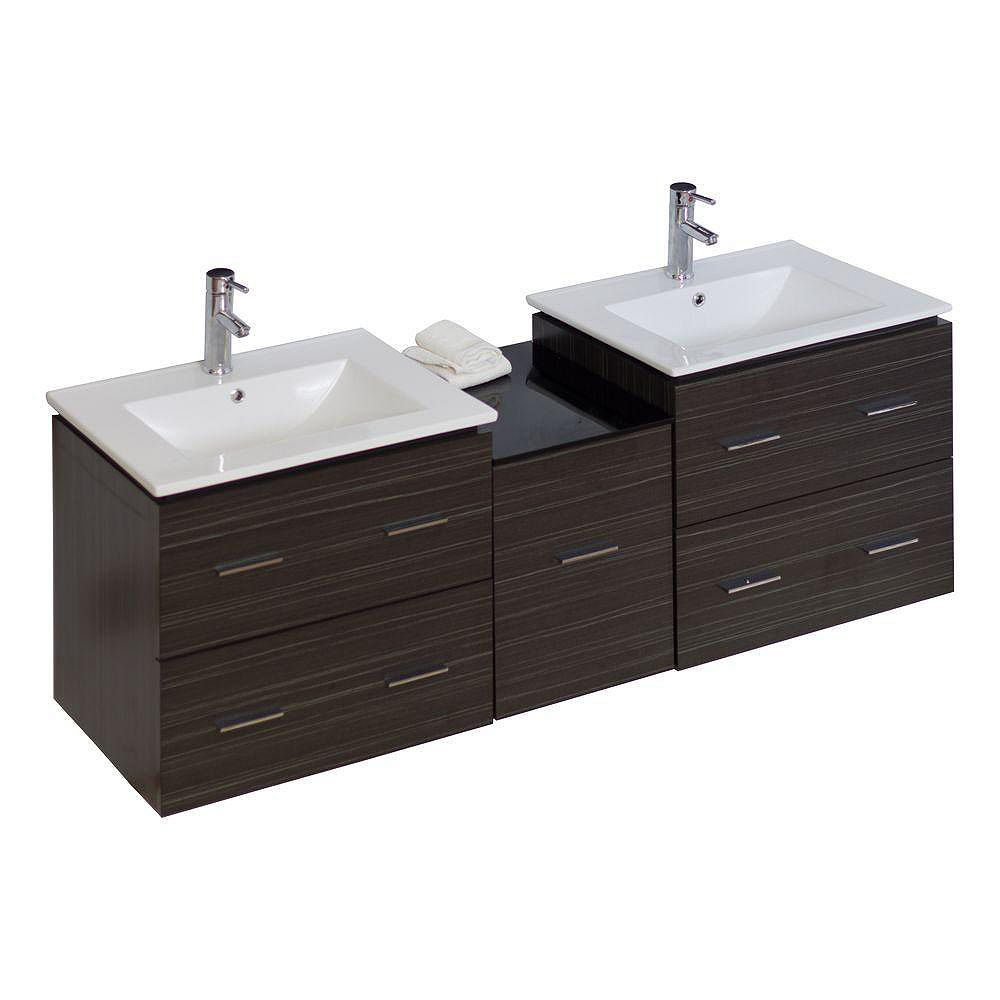 American Imaginations 61.5- inch W Wall Mount Dawn Grey Vanity Set For 1 Hole Drilling