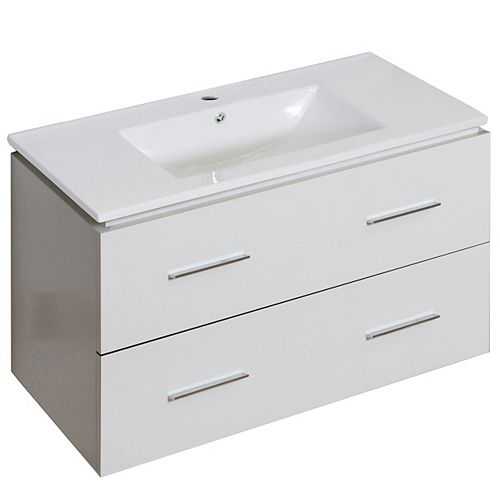 35.5- inch W Wall Mount White Vanity Set For 1 Hole Drilling
