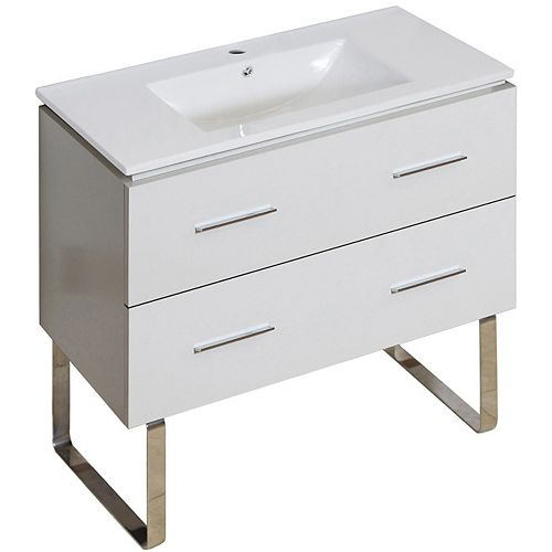 American Imaginations 35.5- inch W Floor Mount White Vanity Set For 1 Hole Drilling