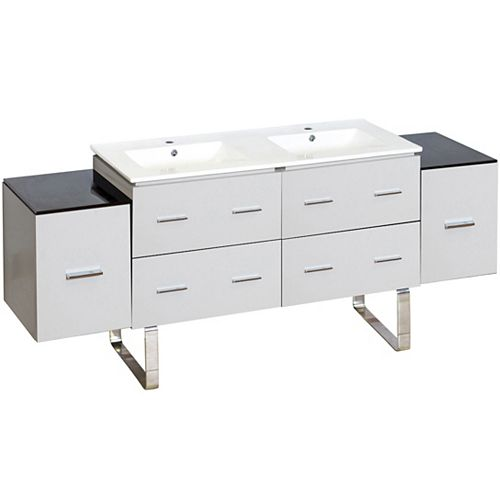 74- inch W Floor Mount White Vanity Set For 1 Hole Drilling