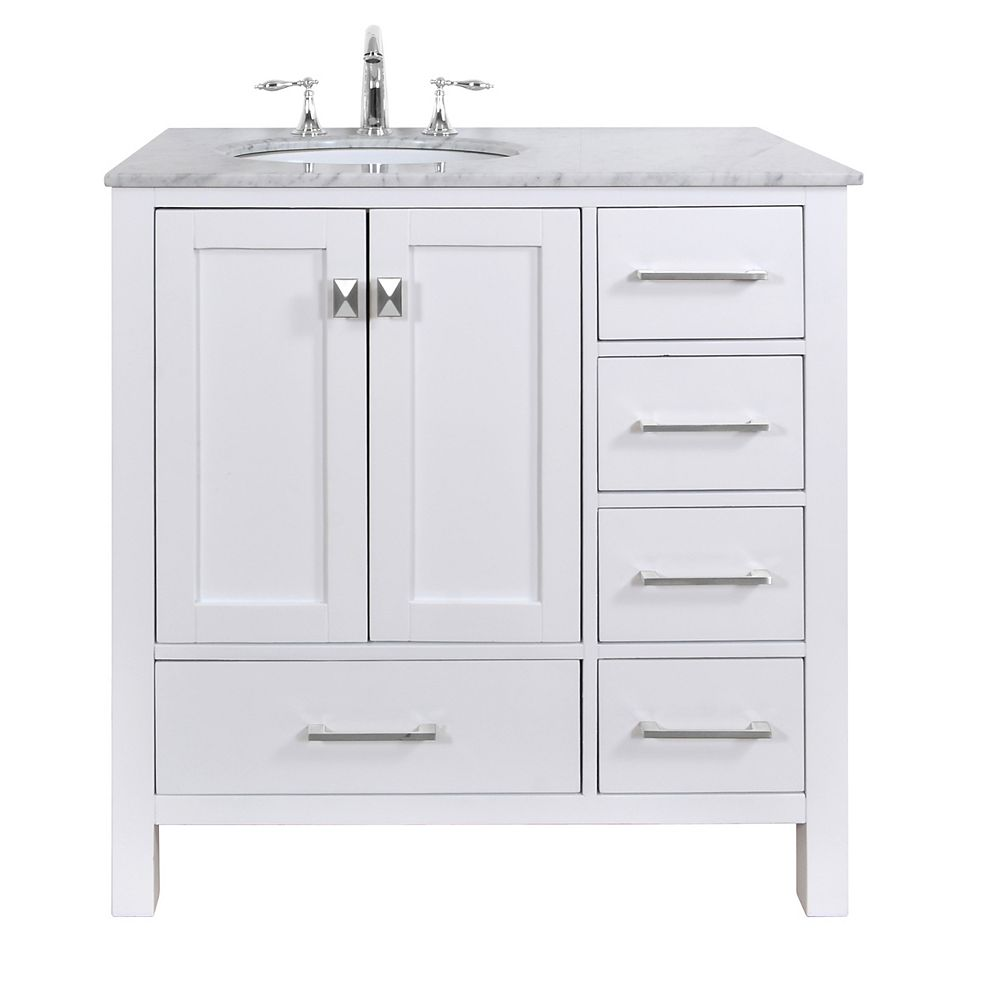 Stufurhome 36 inch Malibu Pure White Single Sink Bathroom ...