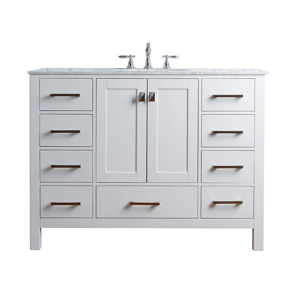 Stufurhome 48 inch Malibu Pure White Single Sink Bathroom ...