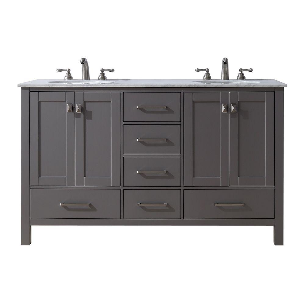 Contemporary Office Interior Design, Stufurhome 60 Inch Malibu Grey Double Sink Bathroom Vanity The Home Depot Canada