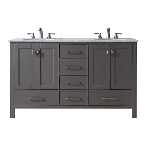 60 inch Malibu Grey Double Sink Bathroom Vanity