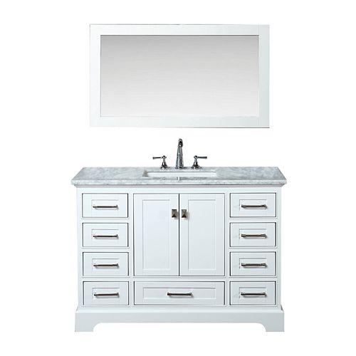 Stufurhome Newport White 48 inch Single Sink Bathroom Vanity with Mirror