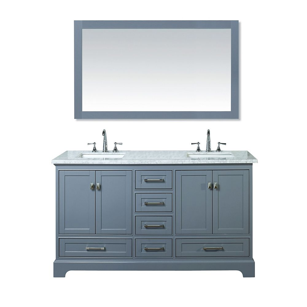 Contemporary Office Interior Design, Stufurhome Newport Grey 60 Inch Double Sink Bathroom Vanity With Mirror The Home Depot Canada