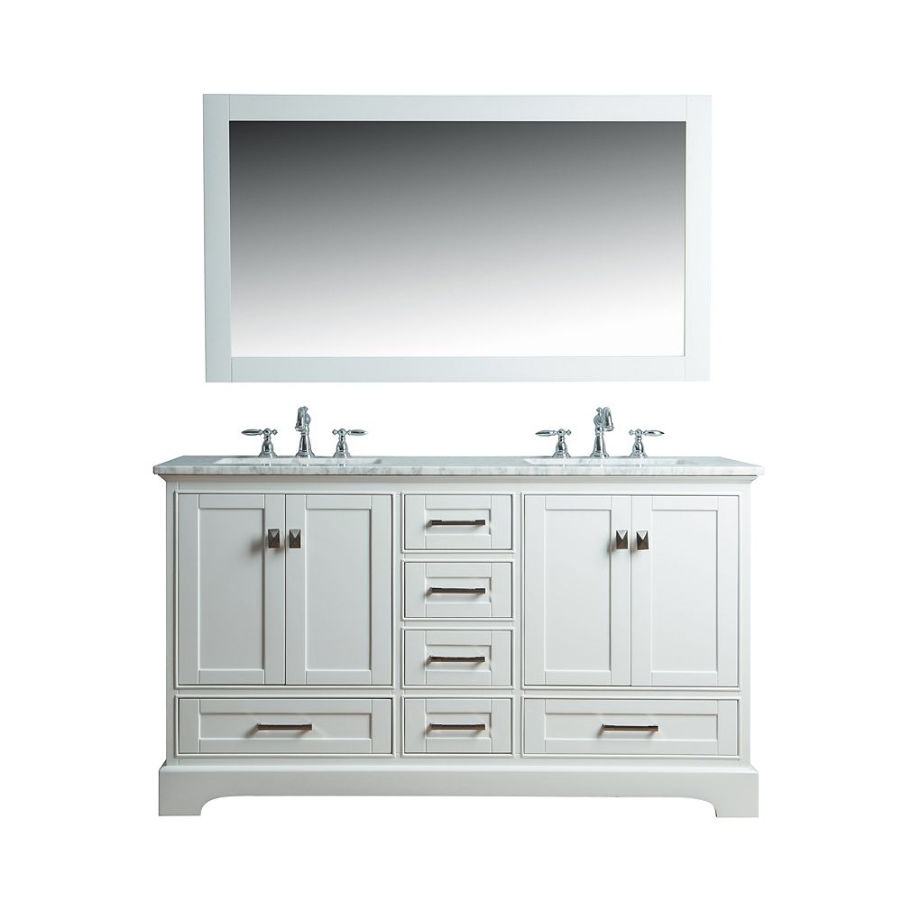 Stufurhome Newport White 60 Inch Double Sink Bathroom Vanity With Mirror The Home Depot Canada