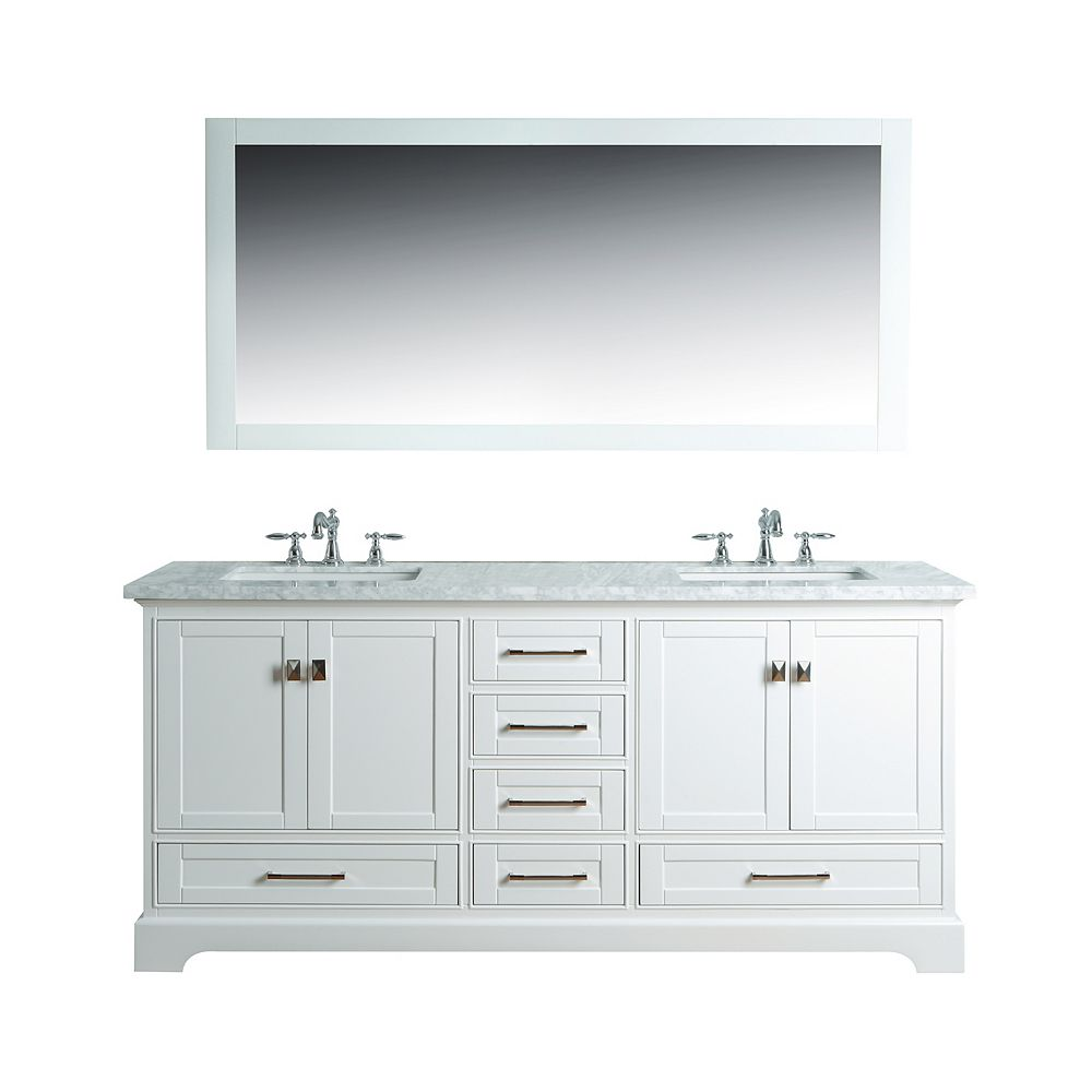 Contemporary Office Interior Design, Stufurhome Newport White 72 Inch Double Sink Bathroom Vanity With Mirror The Home Depot Canada