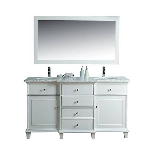 Cadence White 60 inch Double Sink Bathroom Vanity with Mirror