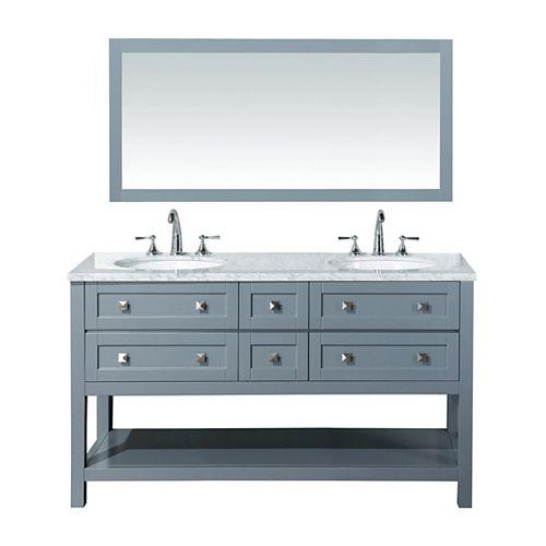 Marla 60 inch Double Sink Bathroom Vanity with Mirror in Grey