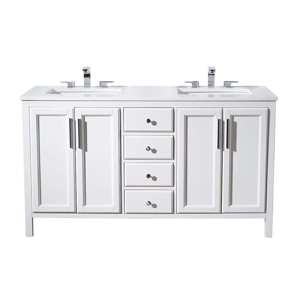 Stufurhome Emily 59 Inch Double Sink Bathroom Vanity The Home Depot Canada