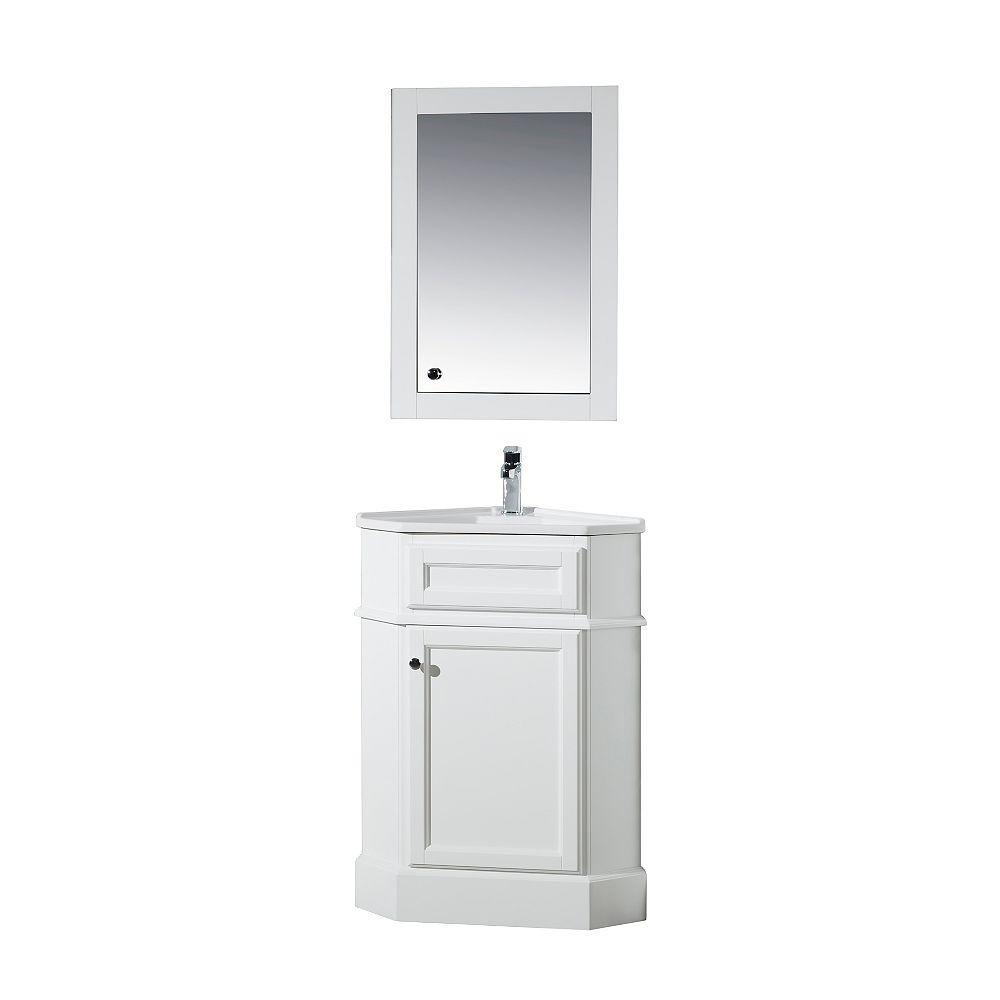 Stufurhome Hampton White 27 Inch Corner Bathroom Vanity With Medicine Cabinet The Home Depot Canada