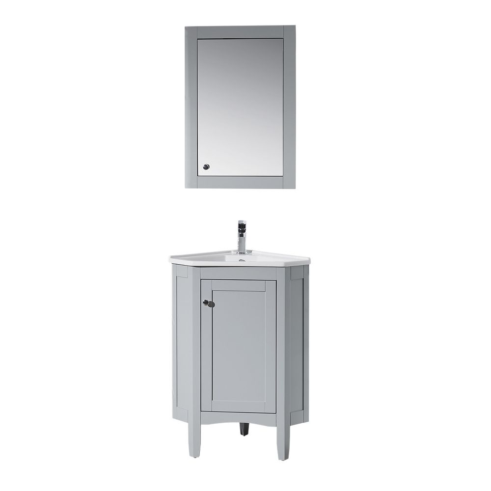 Stufurhome Monte Grey 25 Inch Corner Bathroom Vanity With Medicine Cabinet The Home Depot Canada