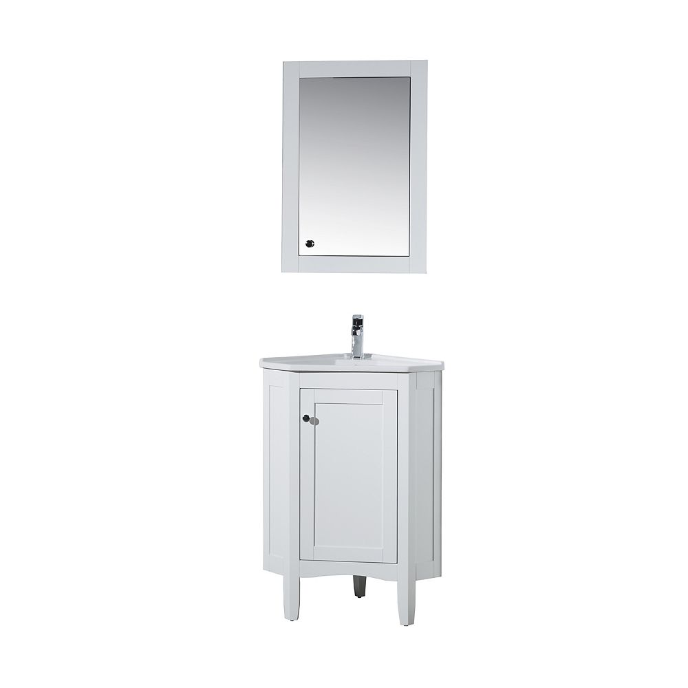 Stufurhome Monte White 25 inch Corner Bathroom Vanity with ...
